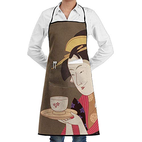 Grill Aprons Kitchen Chef Bib Japanese Geisha Extra Long Adjustable Ties for Cooking,BBQ,Baking