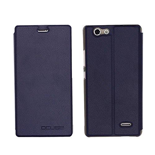 Guran® PU Leder Tasche Etui für Oukitel C4 Smartphone Flip Cover Stand Hülle Case-Dunkelblau