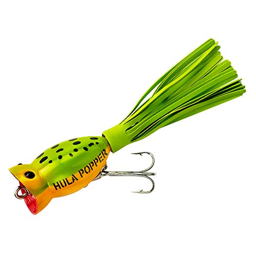 Arbogast Hula Popper Kunstköder, Frog Yellow Belly and Chartreuse Skirt, 1 3/4-Inch -