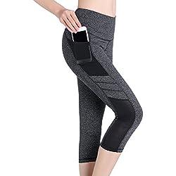 SEYO Yoga Pantalones Mujer Pantalones Deportivos Cintura Alta Leggins Deportivos con Bolsillo (Grey, Small)