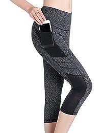 SEYO Yoga Pantalones Mujer Pantalones Deportivos Cintura Alta Leggins Deportivos con Bolsillo (Grey, X