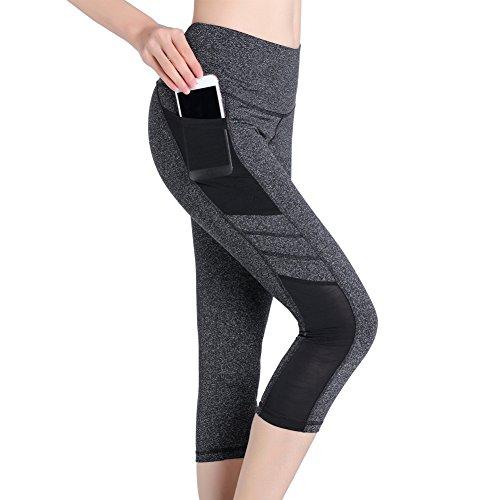 SEYO Damen Yoga Hosen Leggins Hohe Taille Sporthosen mit Taschen (Medium, Grau)