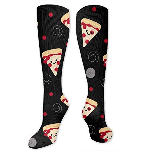 ouyjian Classics Compression Socken Black Happy Pizza Personalized Sport Athletic 50cm Long Crew Socken for Men Women -