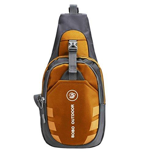 Rucksack - All4you Unisex lässigen Schulter Tasche Nylon Brust Schultertasche für Outdoor-Hiking(Yellow) (Tasche Unterschrift Schulter)
