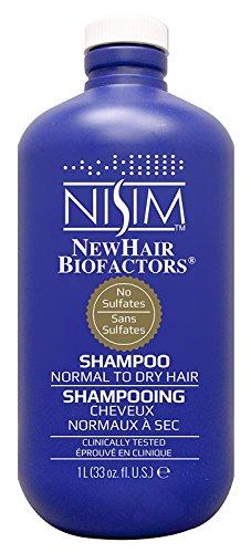 Nisim NewHair Biofactors Shampoo Dry 1000ml mit Dosierpumpe, schneller Haarausfall Stopp, Haar normal bis trocken, paraben- und sulfat frei, für Männer und Frauen, mit Biotin