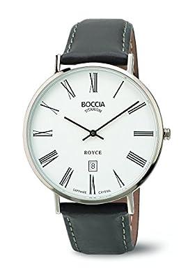 Boccia Reloj de hombre de cuarzo con blanco esfera analógica pantalla y correa de piel color marrón b3589-03 de Boccia