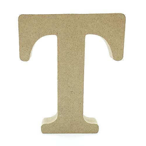 Lettres en Bois, Toifucos 10cm A-Z DIY Alphabet Anglais Ornaments D'artisanat pour Accueil Mariage Anniversaire Décoration de fête Accessoires, 1 pcs T
