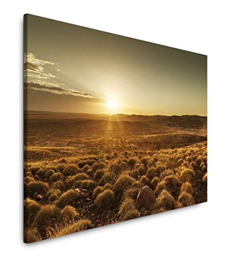 Paul Sinus Art Landschaft Australien 100 x 70 cm Inspirierende Fotokunst in Museums-Qualität für Ihr Zuhause als Wandbild auf Leinwand in - Sonnenaufgang In Der Wüste Fertig