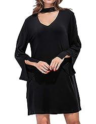 Reaso Femme Elegant Robe Au Genou Soirée Casual Lâche Mini Robes Longues Col V Coton Robe Mi-Longues Automne Retro Manches Ourlet Cocktail Party Robe