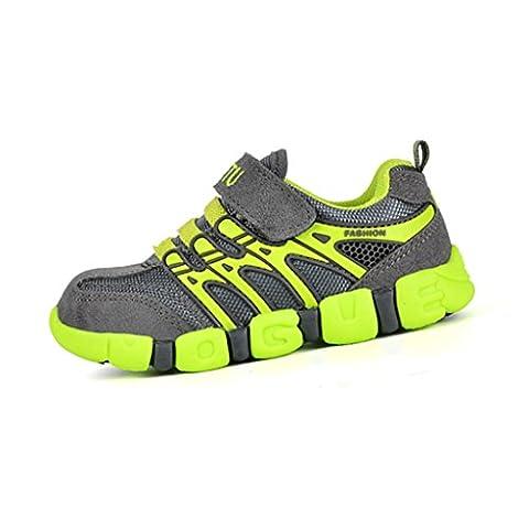 Sommer Kinder Turnschuhe Sport Atmungsaktive Mesh Schuhe Outdoor Freizeit Laufschuhe Rutschfest Straßen Sneaker für Jungen Mädchen, Grün 35
