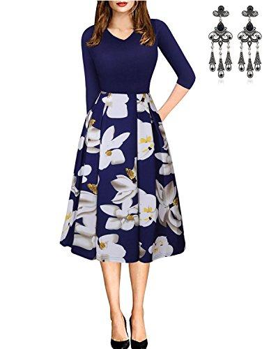 MODETREND Donna Vestiti a Pois Manica a 1/2 Elegante Abito Tutu Giuntura Abiti Vestito da Matrimonio Sera Blu