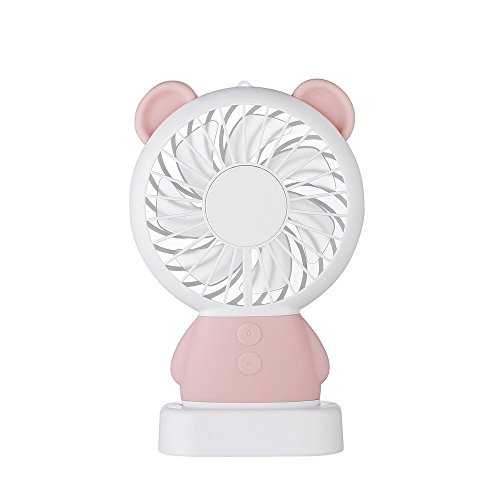 Hginvgse Ventilatore Usb Ricaricabile Mini Ventilatore Portatile Usb 800Mah Ricaricabile 2 Velocità Led Home Office Reunion Light Camping Tour Estate Viaggio Rosa -01
