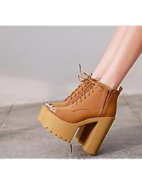 KHSKX-El Otoño Y El Invierno Marrón Zapatos De Tacon 8.5 Cm Unico Super  Grueso 44e0d297d34d