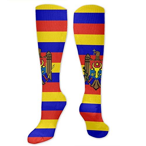 deyhfef Originality Moldawien-Flagge, hohe Socken, lange Socken, Stiefelstrumpf, Kompressionsstrümpfe, Sportsocken für Damen und