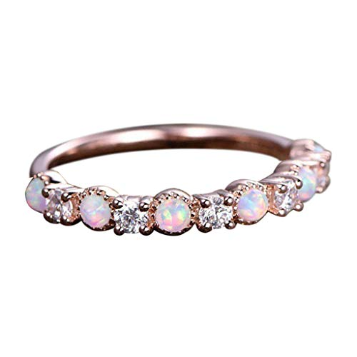 faches Temperament Opal Roségold Verlobungsring Damen Ring echte Schmuck Ring Schmuck ()