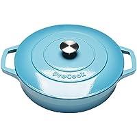 ProCook - Cocotte basse en fonte émaillée compatible induction dégradé turquoise 28cm/3,9l