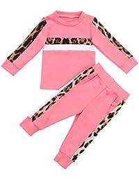 Bebé Chándal 2 Piezas Conjunto de Ropa Deportiva para Niñas Pequeñas Sudadera sin Capucha con Manga Larga Pantalones Largos con Estampado de Leopardo