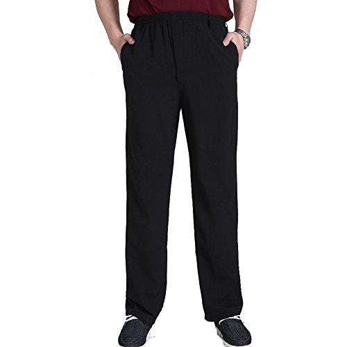 DOXUNGO Herren Sporthose, dünne Hose, verbreitete und vergrößerte Sporthose, männliche Fitnesshosen für Sommer, Seniorenhose aus Seide (schwarz, 4XL) (Männliche Hose)