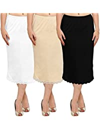 Ziya Pure Cotton Skirt Slip With Side-slit Pack Of 3