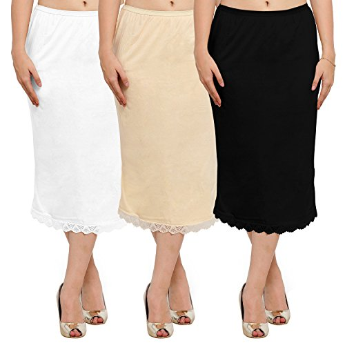 Ziya Pure Cotton Skirt Slip With Side-slit Pack Of 3 (Combo, Small)  available at amazon for Rs.899