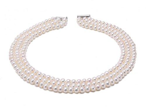 JYX echte 3-reihige 6-7mm fast runde Süßwasser Zuchtperlen Halskette