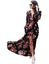 c98ff23846ee Donna Vestito Lungo Maniche Lunghe Elegante Boho Chic Abito Stampa Floreale  Vestiti Stile Impero con Spacco
