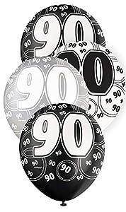 Unique Party Paquete de 6 globos de látex de 90 cumpleaños Color negro Edad (80925