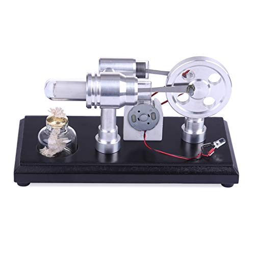 TETAKE Stirlingmotor Bausatz Stirlingmotor Generator mit 2 Zylinder Sterling Motoren Stirling Engine Kit Dampfmaschine Spielzeug Pädagogisch für Kinder Erwachsener