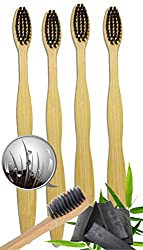 Natural Bamboo Charcoal Toothbrush - 100% Organic, Biodegradable and Eco-Friendly Toothbrush with Extra Slim Soft BPA-Free Bristles - 4pc Set