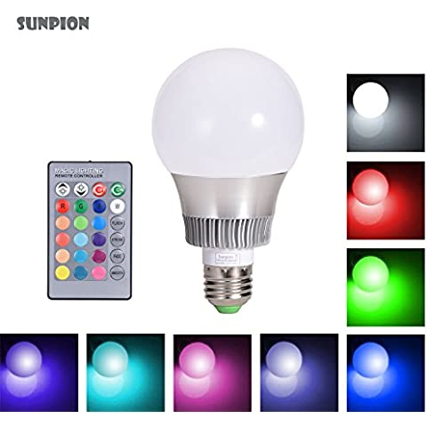 Led Colores Cambiantes Lámpara,Sunpion® Bombilla Bulbo LED AC 85-265V, para Iluminación Decoración Fiesta LED Lmpara Bombilla 16 Colores Mando a Distancia Led RGB Light Bulb (E27 10W)