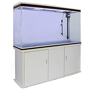 MonsterShop Fish Tank Aquarium Large Marine Tropical Salt Fresh Water/LED Lighting, Filter, Air Pump, Heater & White Cabinet 4ft 300L
