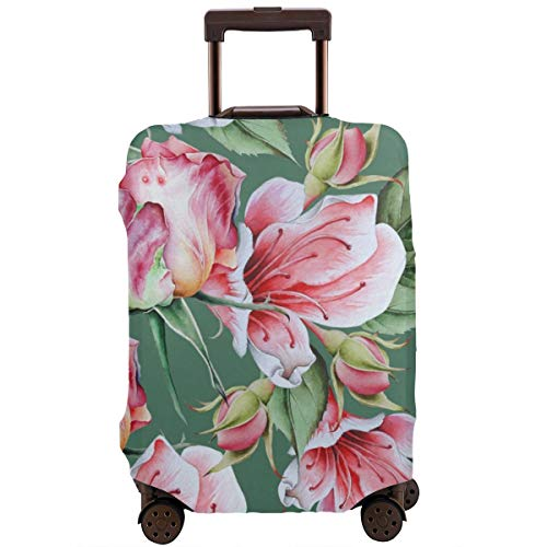 Travel Suitcase Protector,Bright Seamless Pattern with Flowers Rose Watercolor Illustration Hand Drawn,Suitcase Cover Washable Luggage Cover L Black Skull Hard Case