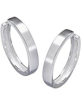 Vinani Damen-Klapp-Creolen groß mattiert glänzend Sterling Silber 925 Ohrringe CSC