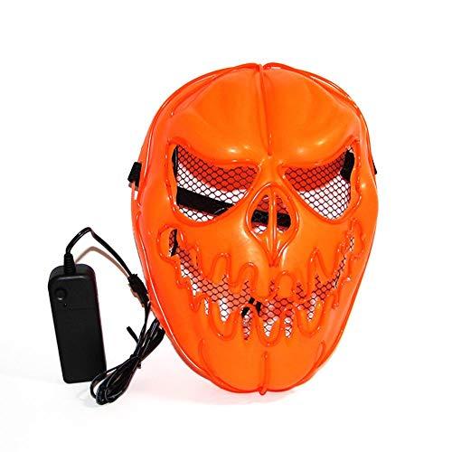 Biback Halloween Luminous Maske, Kürbis EL Draht Maske -