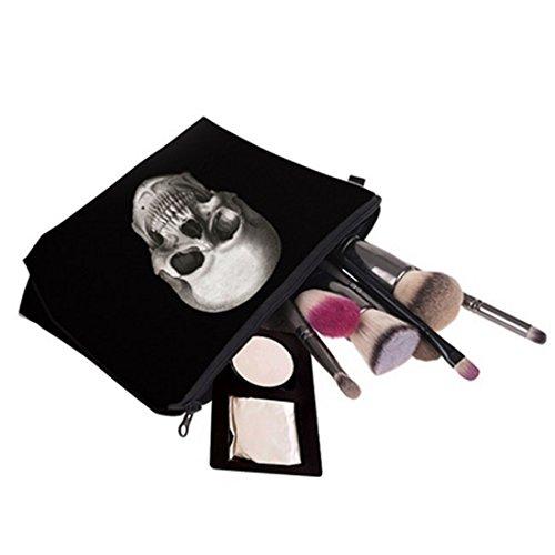 VWH Schwarze Totenkopf Kosmetiktasche Make-up Waschbeutel