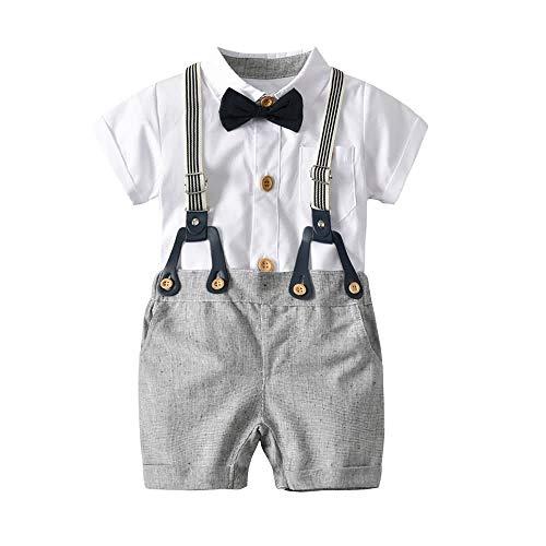 Hosenträger Kostüm Für Mit Kinder - Teansan Zweiteiliges Kostüm für Säugling Jungen, Kurzärmliges Hemd mit Fliege Onesies, Hosenträger-Shorts, 0-24 Monate #102 (Color : Gray, Size : 0-6M)