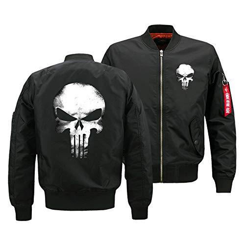 Hkokjfrt Punisher Pullover Herbst und Winter Mantel Jacke Fluganzug Winddicht Jacke Baumwolle lässig Mantel (Color : Black, Size : XL) -