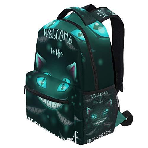 Oarencol Willkommen in der Nightmare Scary Halloween gruselig böse Katze Gesicht Rucksäcke Bookbags Daypack Travel School College Bag für Frauen Mädchen Männer Jungen