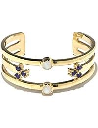 Pamela Love Damen-Armband Vergoldet Mondstein Transparent Rundschliff