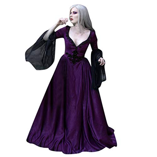 Boy Kostüm Renaissance - Cosplay Fantasy Gothic Kopfbügel Kostüm Retro Party Princess Renaissance Kleider Rock,Art und Weise neue Frauen-mittelalterliche Weinlese-gotische Patchwork-Spitze-reizvolles tiefes V-Ansatz Kleid