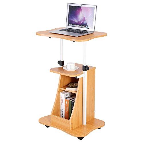 Höhenverstellbarer Laptop Rolling Präsentationswagen, mobiler Stehschreibtisch Computer Arbeitsplatz Notebook Tisch Ablagefach mit Rad, Holzfarbe -