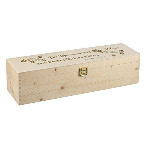 polar-effekt Weinkiste Holzbox mit Gravur - Personalisierte Geschenkbox für Weinflasche Weinpräsent - Aufbewahrungskiste Geschenkidee zum Geburtstag oder Weihnachten - Motiv Poesie