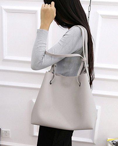 Honeyall Damen Art und Weisefrauen PU Leder Schultertasche aus Kunst-Leder Handtasche + Schultertasche + Geldbeutel 2pcs Grau Grau