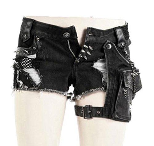 Punk rock-Pantaloncini con tasca, cinghia e pic K-127 Punk Rave nero 2XL