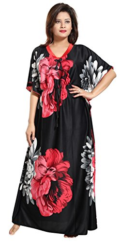 Noty™- Women's Kaftan Nighty - Floral Print (Red-Black)