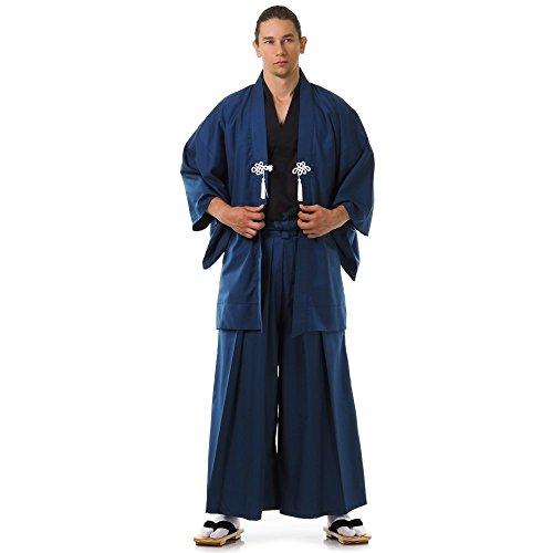 Kostüm Samurai Hakama - Cosplaymania Japan Samurai Kimono Set 3 Teile Kendo Gi + Hakama + Haori Baumwolle M L XL (Blau & Schwarz)