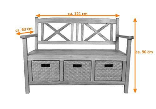 SAM® Gartenbank Flora aus Akazie, weiß lackiert, inklusive 3 x Polyrattan-Korb, Garten-Möbel aus Holz, 121 x 60 cm, FSC® 100% zertifiziert, massive Holzbank, pflegeleichtes Unikat - 5