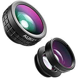 AUKEY Optic iPhone Lens, 180° Fisheye Lens + 110° Wide Angle + 10x Macro Mini Clip-on Cell Phone Camera Lenses Kit for Samsung, Android Smartphones(PL-A6)