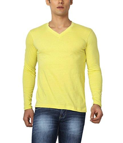 Joke Tees Solid Men's Perfect Vee Long T-Shirt(Gold Yellow) (Small)
