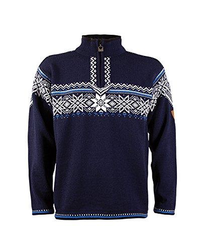 Dale of Norway - Pullover da uomo Holmenkollen, colore navy/bianco sporco/cobalto, taglia XL, 91541-H